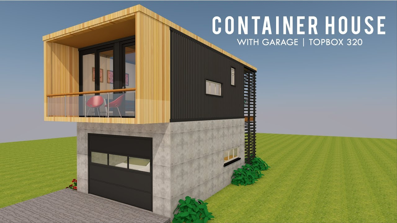 Tiny Home Design Plans: Modular Shipping Container Tiny House Design With Garage