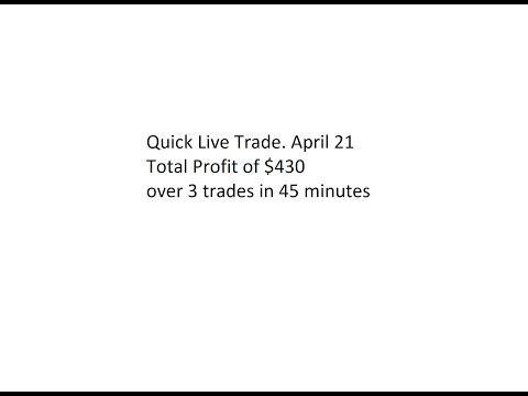 Quick Live Trade. April 21. Total Profit of $430 over 3 trades in 45 minutes