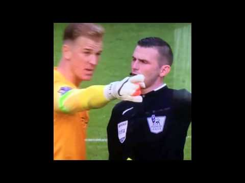 Joe Hart headbutt vs referee Michael Oliver   Derby Manchester