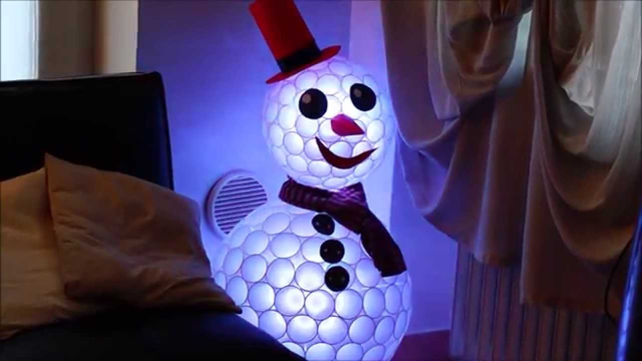 LED snowman out of plastic cups - YouTube