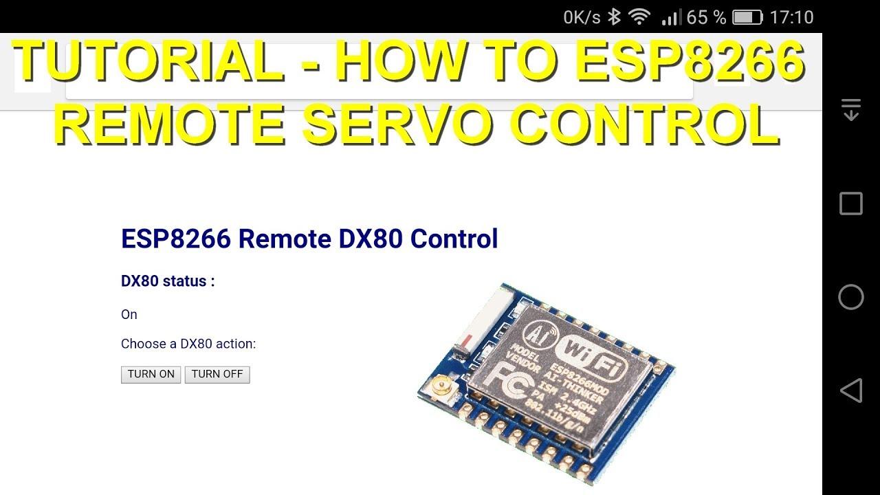 Tutorial how-to : ESP8266 web server (WiFi AP) to remote control a servo