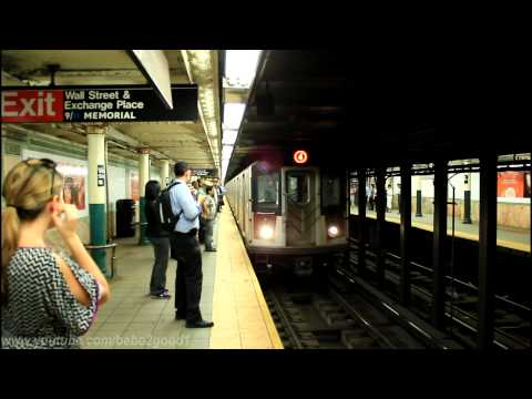 IRT Subway: Bronx Bound R142/A (4) & (5) trains at Wall Street