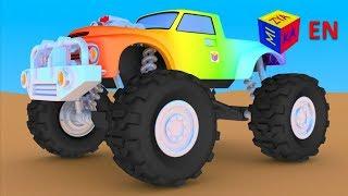Monster trucks for children kids. Construction game: building a monster truck. Monster truck show.