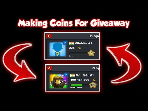 225 Coins to 100M Coins | Making Coins For Giveaway | Miniclip 8 Ball Pool
