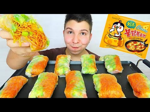 Yummy Delicious Noodle Spring Rolls • MUKBANG