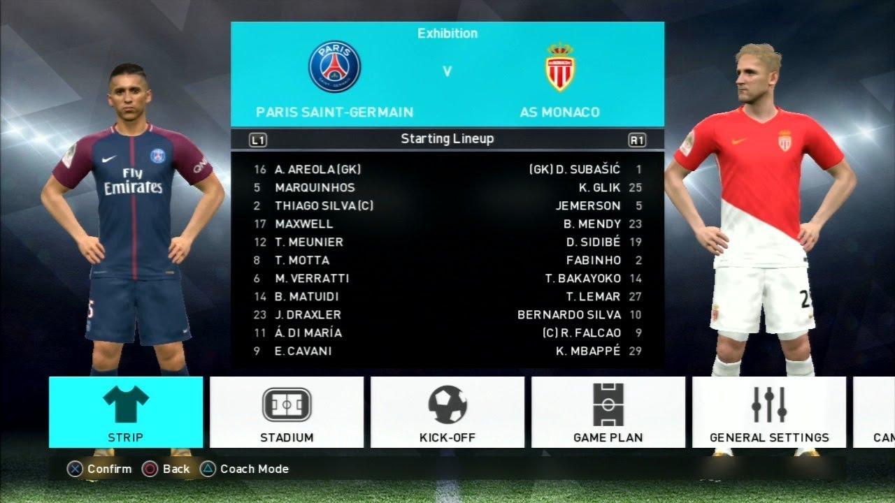 Pes 2018 Paris Saint Germain Vs As Monaco Gameplay Ps3 Hd