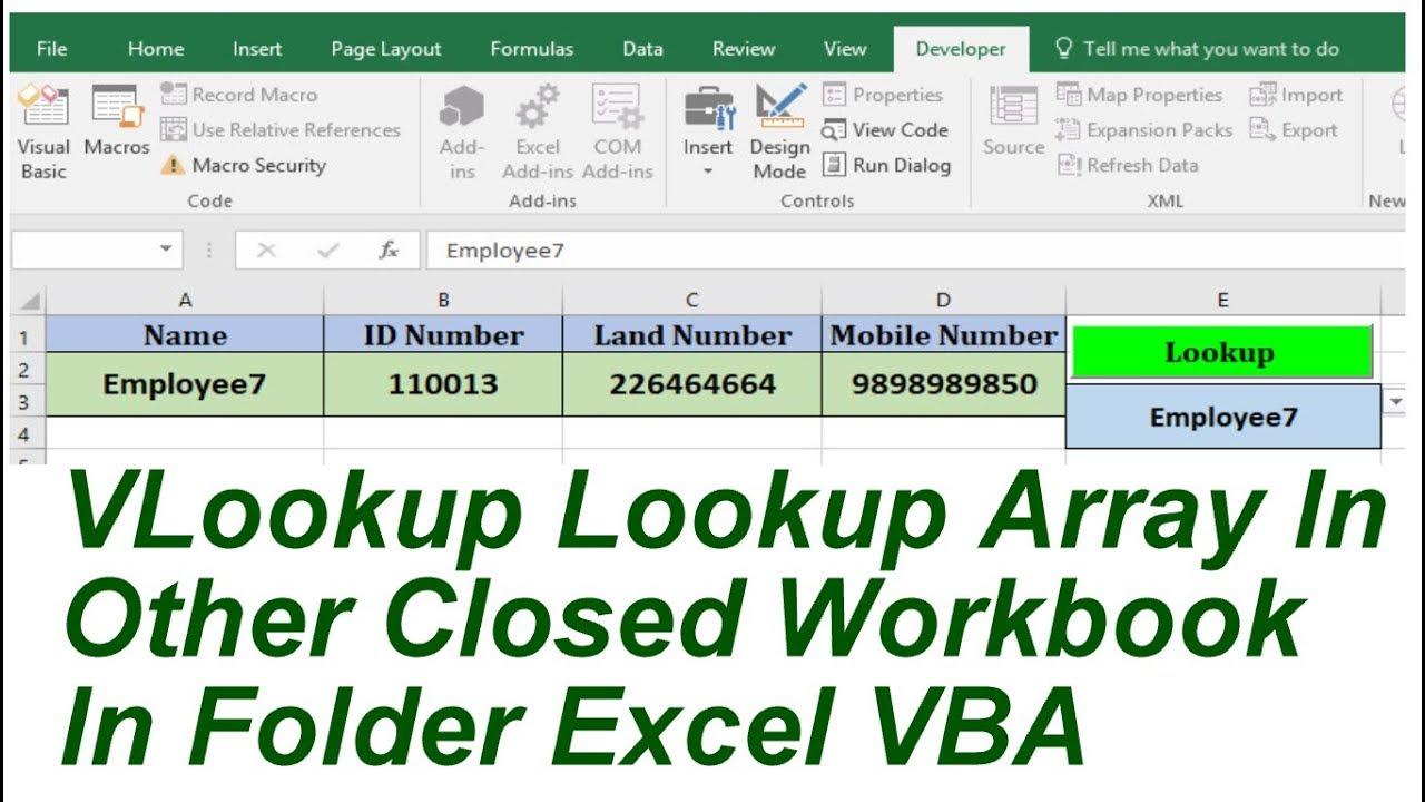 VLookup Lookup TableArray In Closed Workbook InFolder Excel VBA