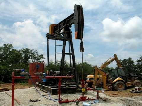New Titan pumpjack  on new oil well in Appalachian Oilfield