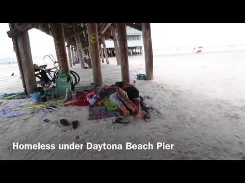 Homeless people under the Daytona Beach Pier