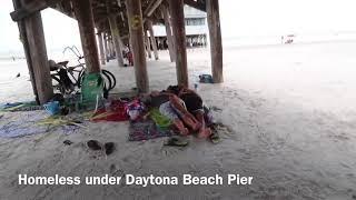 Homeless people under the Daytona Beach Pier