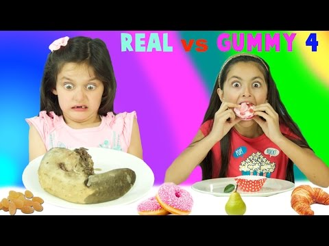 Thumbnail: Real Food vs Gummy Food Challenge Part 4! Gross Real Food Kids React to Super Gross Cow Tongue!