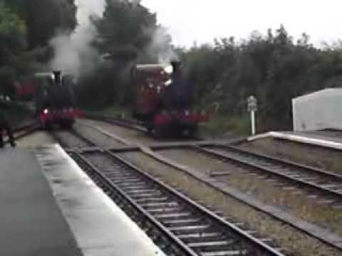 Isle of Man Transport:Isle of Man steam railway 2010 Ballasalla waiting for staff.MP4