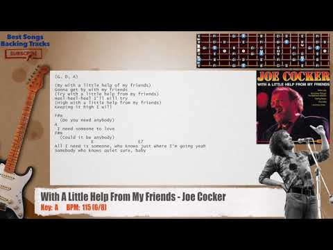 With A Little Help From My Friends - Joe Cocker Guitar Backing Track with chords and lyrics