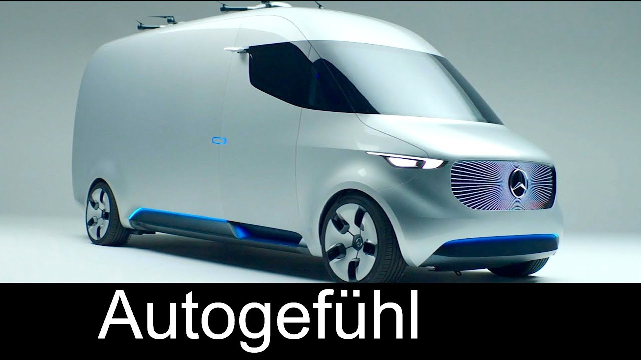 Mercedes Benz Van >> Mercedes Vision Van future MB Sprinter concept: drones & semi-automatic delivery systems - YouTube