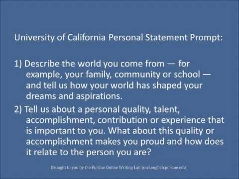 Purdue OWL Personal Statements - YouTube