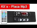 Decodificador Placa Mp3 Player Bluetooth FM p/ Micro System Receiver Caixa Som e Automotivo