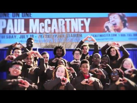 "Milton Hershey School: Sings ""All You Need is Love"" to announce Paul McCartney in concert."