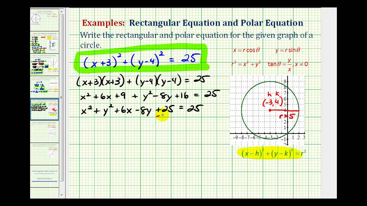 Ex: Find the Rectangular and Polar Equation of a Circle From a ...