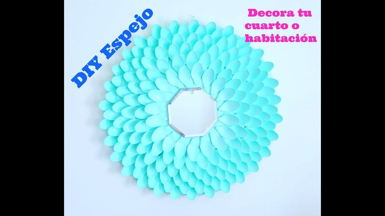 Haz un lindo espejo con cucharas de pl stico diy idea para decorar tu cuarto o habitaci n - Espejo de plastico ...