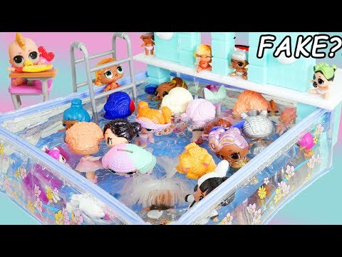 Pool Party in Barbie Waterfall Pool with FAKE LOL Surprise Dolls Boy Series Fuzzy Pets