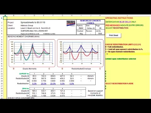 How to determine bending moment and shear forces of reinforced concrete frames using excel spreadshe