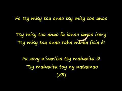 Tsy misy toa anao - Ny Ainga (Paroles)