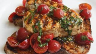 Grilled Swordfish Bruschetta Recipe - Grilled Swordfish With Cherry Tomato Salad On Grilled Bread