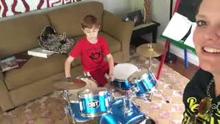 Carter rocks an improv beat in drum lessons!!