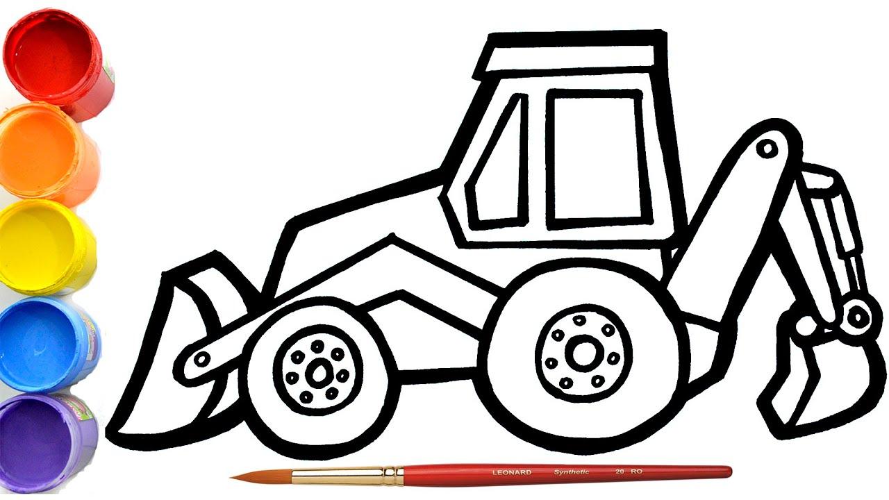 Mantap Menggambar Dan Mewarnai Excavator Retro Untuk Anak Sederhana Dan Simpel Alat Berat Youtube