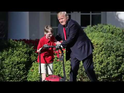 11-year-old mows Rose Garden lawn at White House for Trump