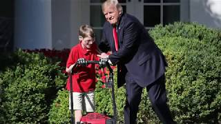 11-year-old mows Rose Garden lawn at White House for Trump thumbnail