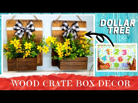 DIY DOLLAR TREE WOOD Crate Box Wall Decor | Rustic Farmhouse Flower Or Candle Holder | 100% Wood!