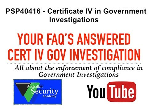 Certificate IV Government Investigation Australian Security Academy  Mike Evans