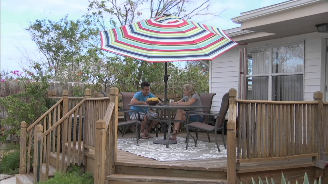 ATLeisure 9 Solar Umbrella With Color Morphing On QVC