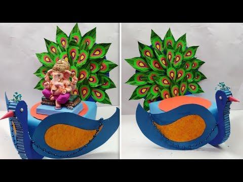 Ganpati Decoration ideas for home |Ganpati Background Decoration | Eco-friendly Ganpati Decoration