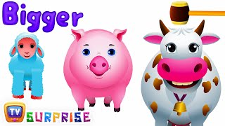 Learn Sizes & Farm Animals | Wooden Hammer Surprise Eggs Hitting Game (SINGLE) | ChuChu TV Surprise