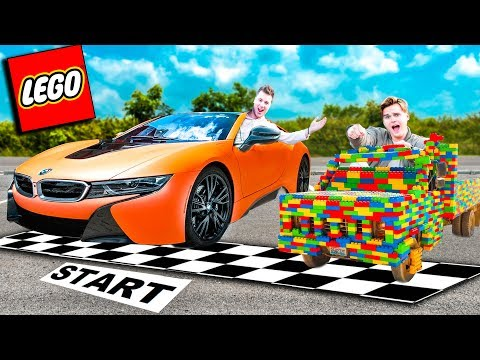 REAL LIFE LEGO CAR Vs BMW I8 SUPER CAR CHALLENGE!