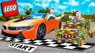 REAL LIFE LEGO CAR Vs BMW I8 SUPER CAR CHALLENGE!