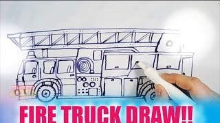 HOW TO DRAW A FIRETRUCK!! EASY!