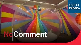 Russian artist fills Moscow museum with colourful latex sculptures