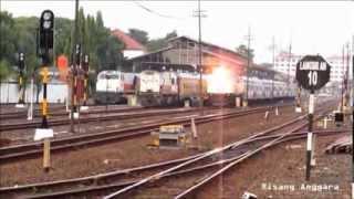 Kereta Api Senja Utama Solo dan Kahuripan di Stasiun Lempuyangan