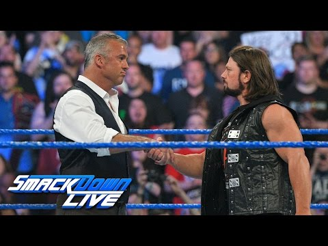 "Thumbnail: Shane McMahon & AJ Styles shake hands before the ""Superstar shake-up"": SmackDown LIVE, April 4, 2017"