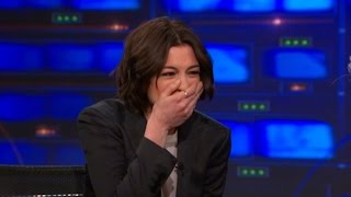 Watch Anne Hathaway Laugh Uncontrollably with Jon Stewart