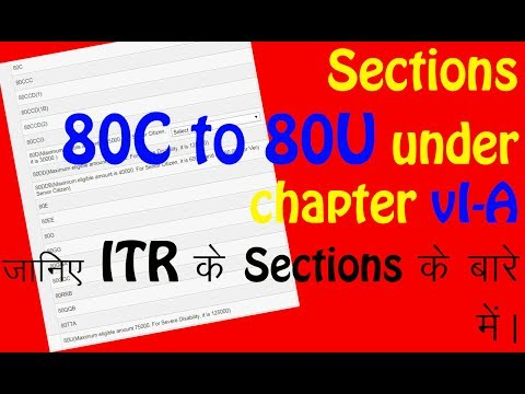Various Section under Chapter- VI A    जानिए ITR  Sections के बारे में विस्तार से (हिन्दी में)