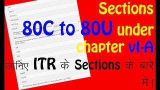 Various Section under Chapter- VI A || जानिए ITR  Sections के बारे में विस्तार से (हिन्दी में)