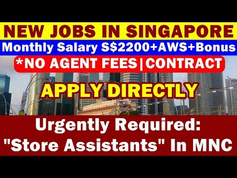 New Jobs In Singapore: Store Assistants In MNC Singapore. Basic Salary Up to S$2200/Month.