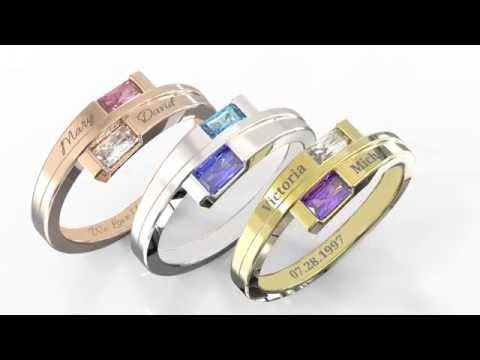 Personalized Jewelry: Double Baguette Bypass Promise Ring