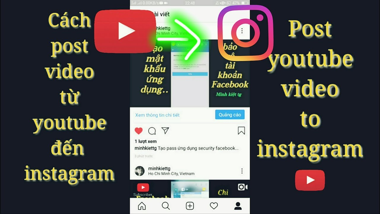 Post video từ youtube đến instagram | post youtube video to instagram