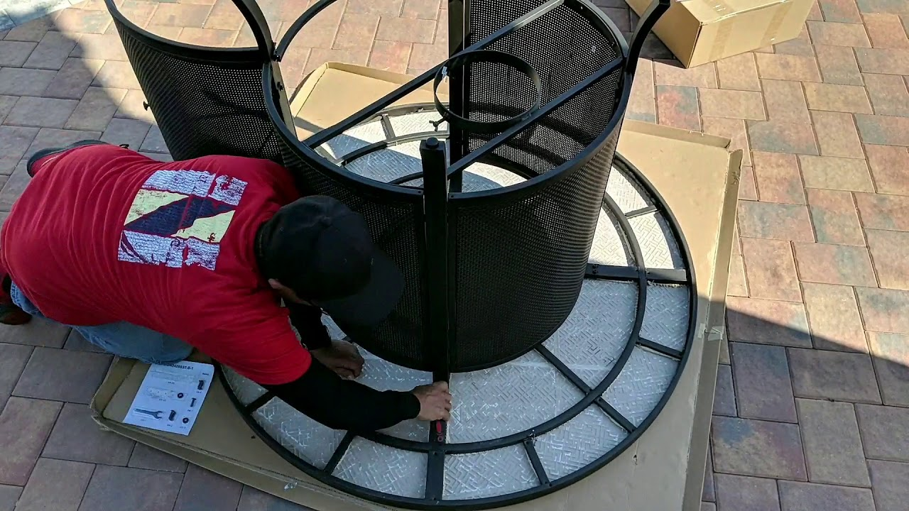 how to assemble of the wilson fisher grandview round high dining fire pit table 54
