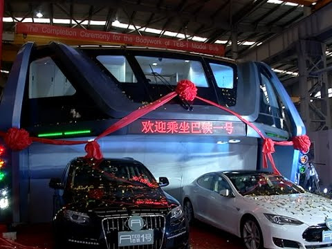 china designs elevated bus to solve traffic congestion youtube. Black Bedroom Furniture Sets. Home Design Ideas